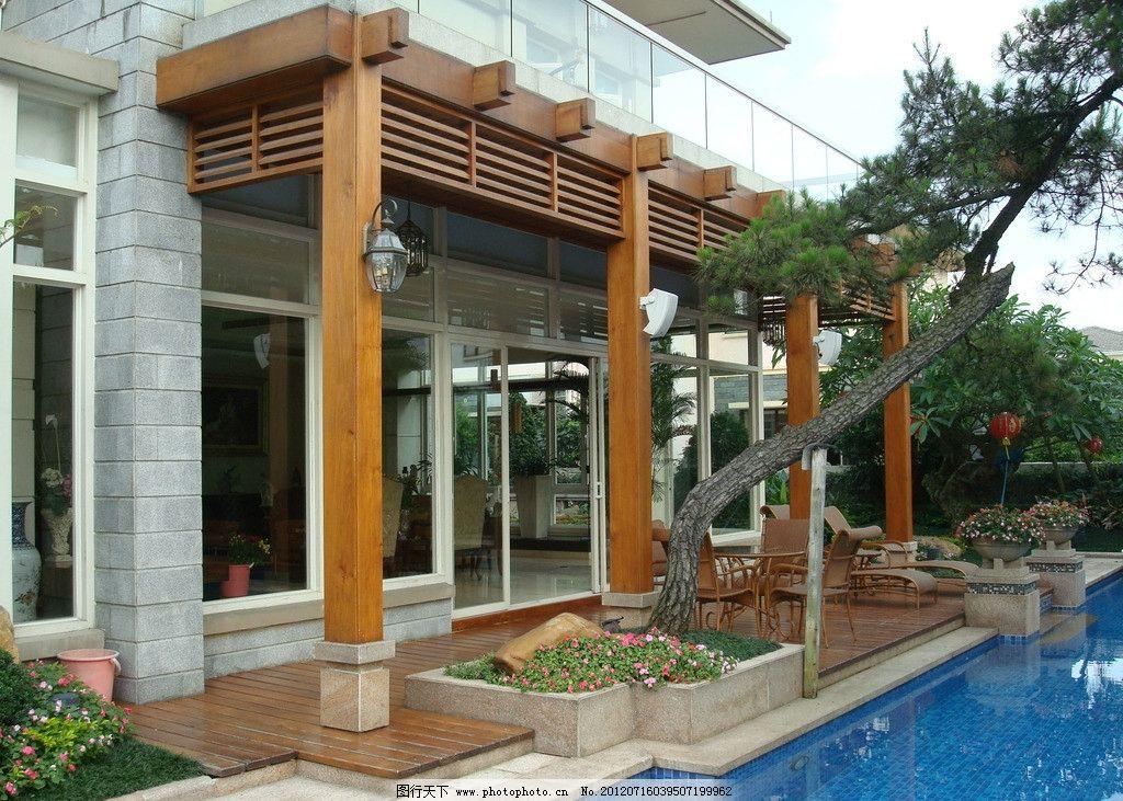 树木 人文景观 花坛 植物 地面 铺装 庭院 别墅庭院 庭院设计 花架