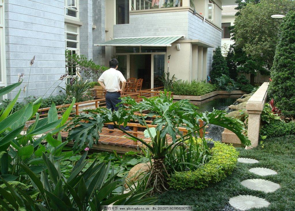 别墅园林 小桥 现代园林 花草 树木 植物 地面 铺装 庭院 别墅庭院