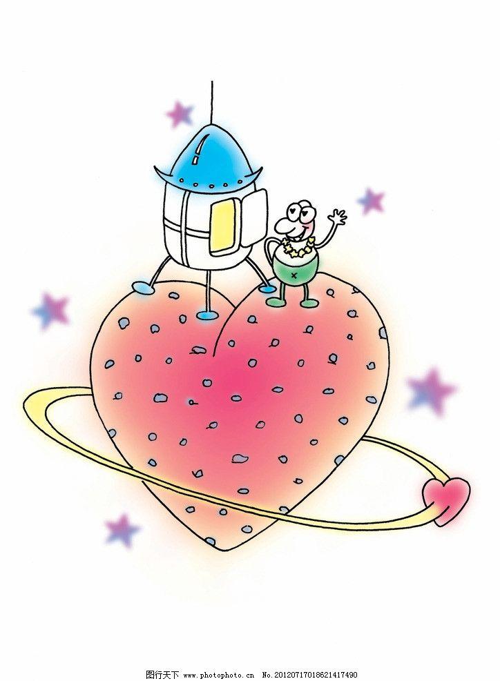 爱心背景 梦幻 卡通 动漫 底纹 可爱 爱心 房子 星星 卡通画插画图 其