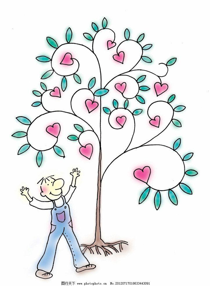 大树 梦幻 卡通 动漫 底纹 可爱 爱心树 人物 卡通画插画-卡通天鹅爱心图片