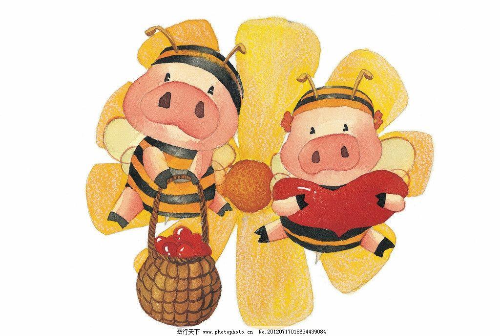 卡通画插画 卡通情侣 漫画卡通画 梦幻 动漫 底纹 可爱 两只小猪