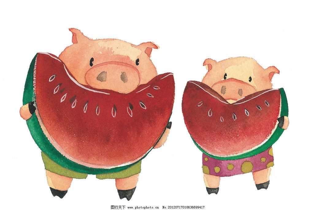 卡通情侣 漫画卡通画 两只小猪 西瓜 梦幻 卡通 动漫 底纹 可爱 卡通