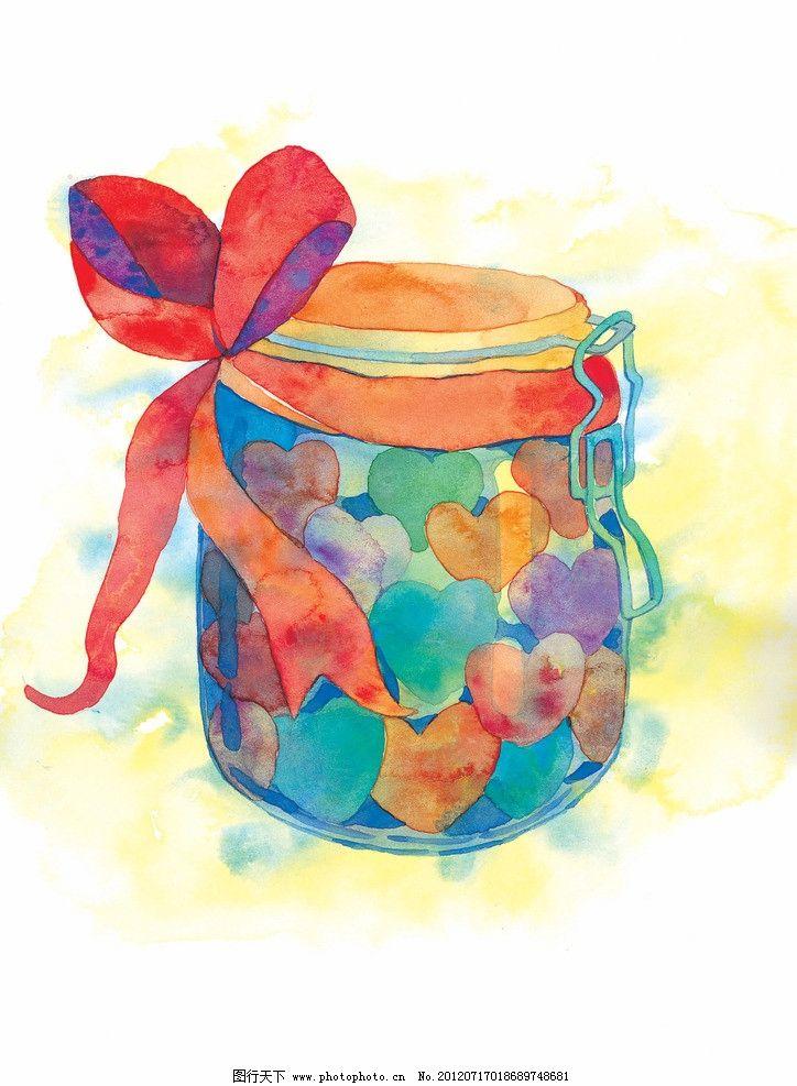 卡通画插画 糖果罐 瓶子