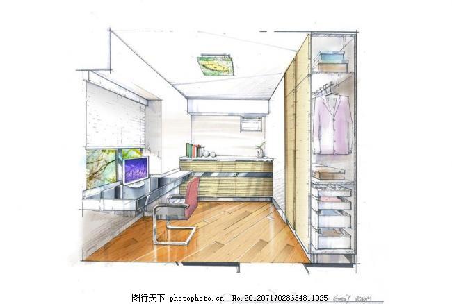 书房设计 手绘 手绘图 室内设计 环境设计 200dpi     白色 200dpi