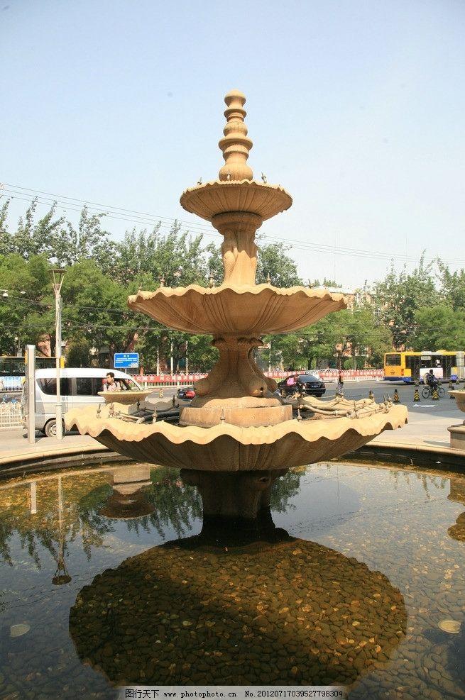 园林小品 水法 喷泉 欧式 建筑 绿树 园林建筑 建筑园林 摄影 72dpi
