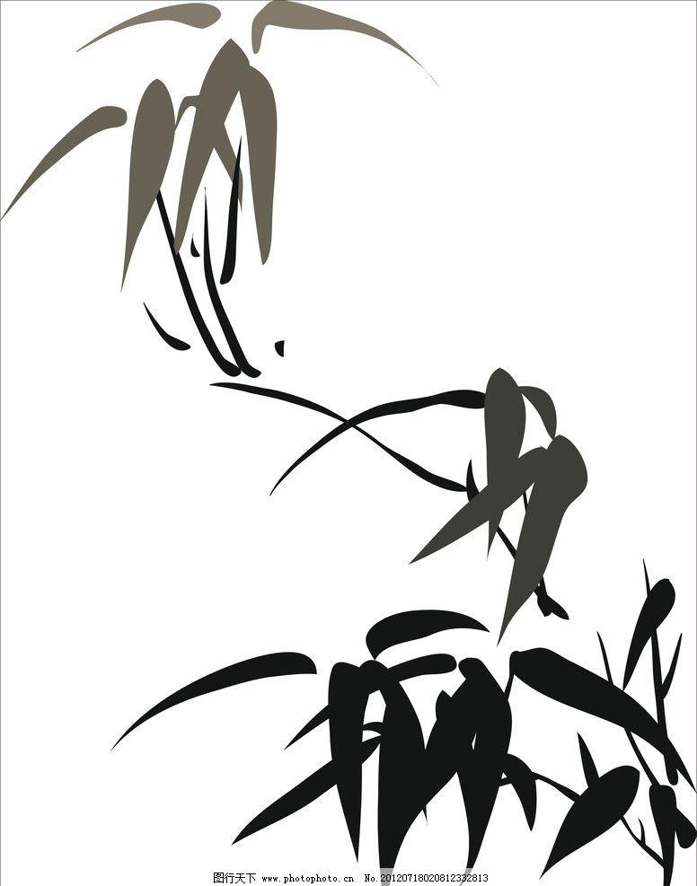 水墨竹 竹 线条 雕刻 其他 底纹边框 矢量 cdr