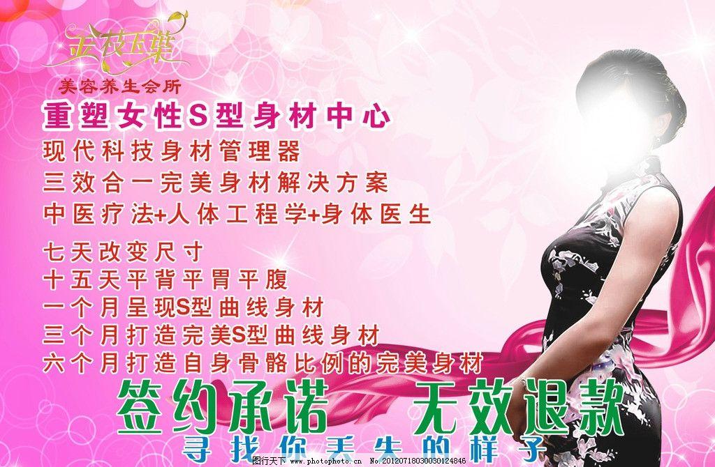 金枝玉叶 海报 宣传单 美女 旗袍 电梯广告 减肥 美容 粉红 海报设计