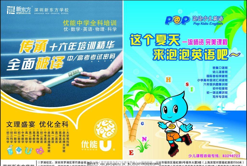 招生宣传单 教育 学校 夏天 新东方教育学校 培训 广告设计 矢量图片