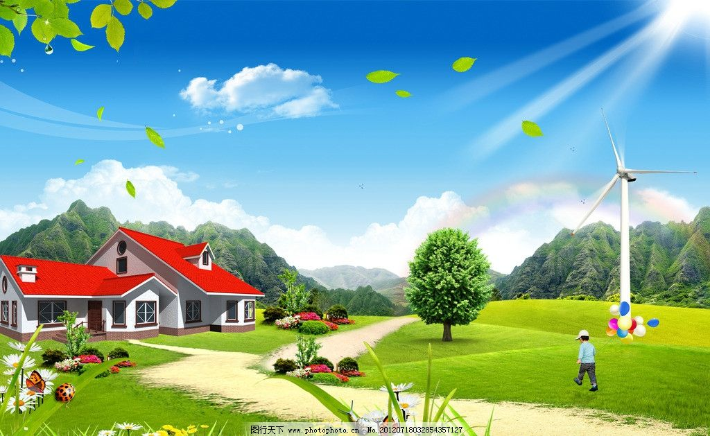 风景 景色 绿色 大自然 蓝天 白云 草地 草 草原 树 树叶 树木 落叶