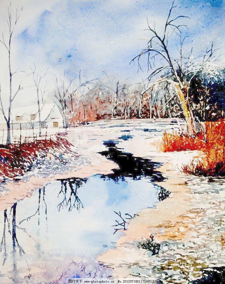 油画 冬季小河 冬景 冬天 风景 风景画 挂画 河流 绘画 冬季小河设计