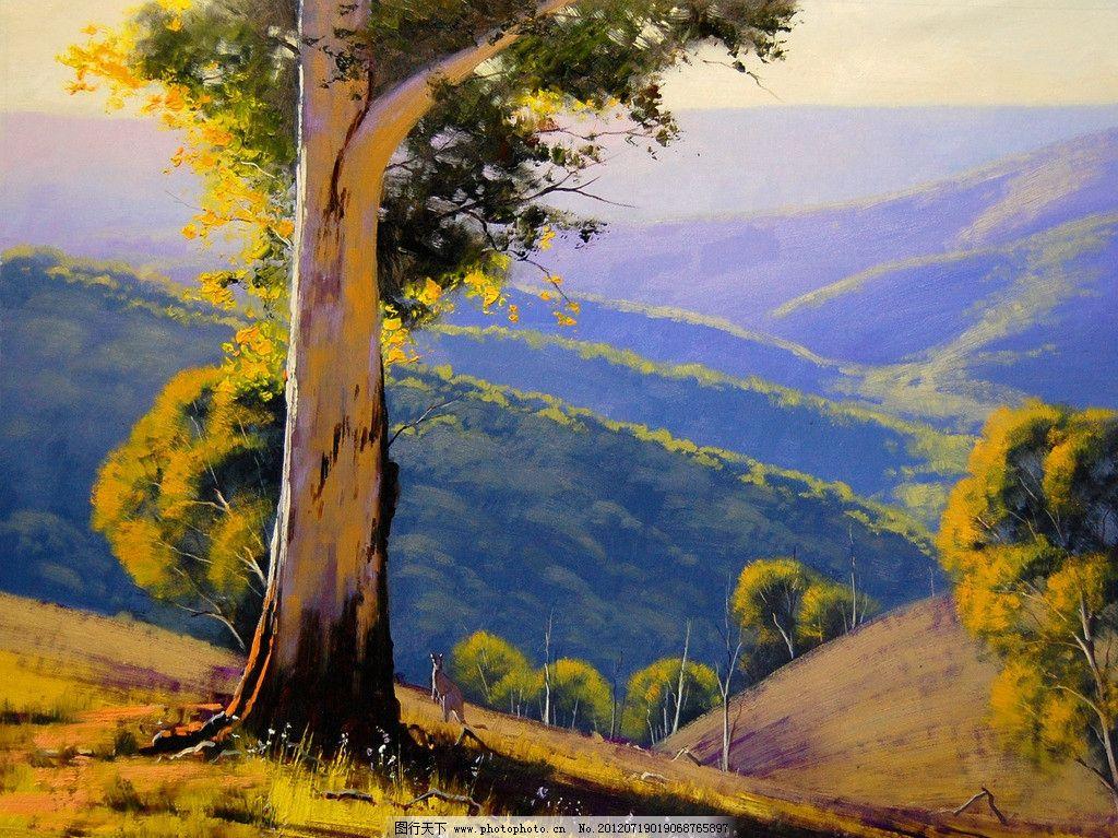 油画风景 绘画 艺术 油画艺术 油画夏景 夏天 夏季 山峦 山区 大树