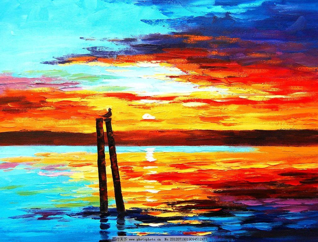 油画 海洋落日图片_绘画书法_文化艺术_图行天下图库图片