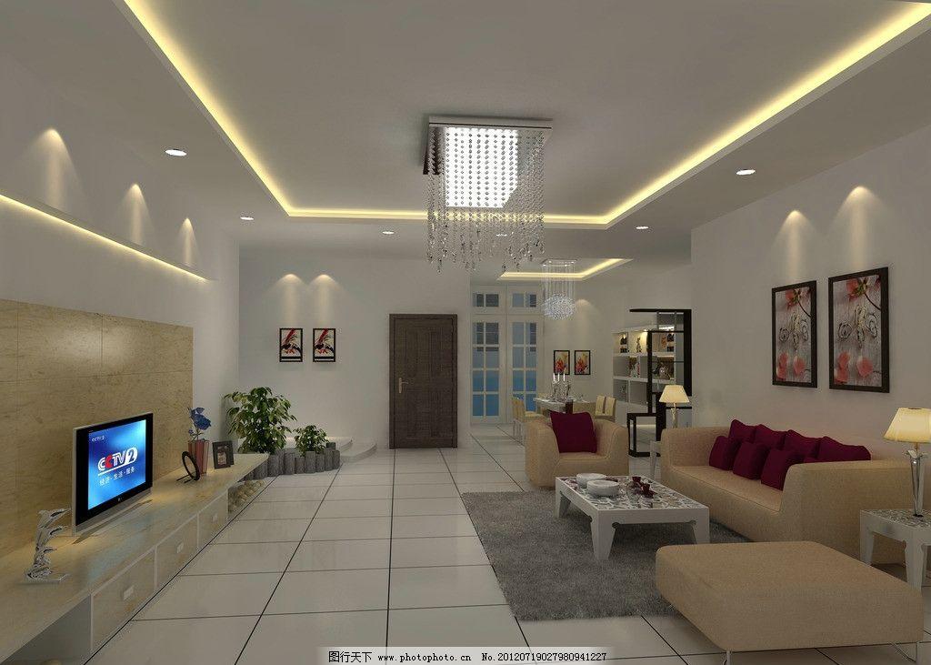 现代客厅效果图 沙发 欧式 吊灯 电视 植物 地毯 挂画 门 窗户