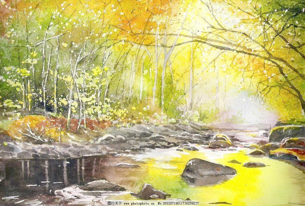 油画 森林溪流图片_山水风景画_装饰素材_图行天下图库