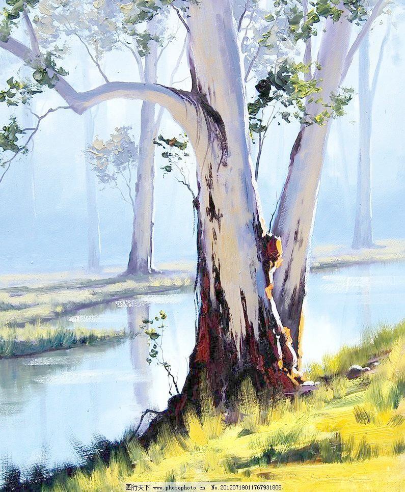 油画 河畔树林 大树 风景 风景画 挂画 河岸 河流 绘画 河畔树林设计