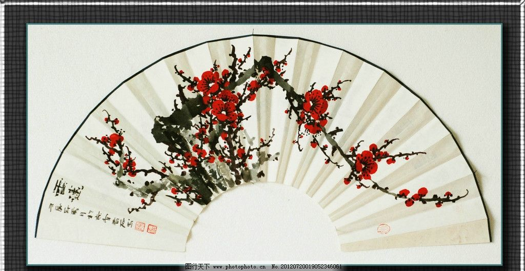 国画梅花 扇面 中国画 书法 风景画 写意 白梅 花鸟国画 绘画书法