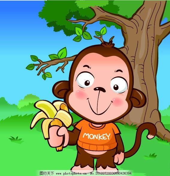 小猴吃香蕉图片