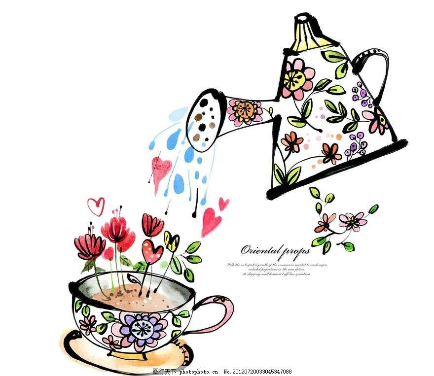 鲜花花朵背景 鲜花 花朵 茶杯 水壶 绿植 盆栽 植物 玫瑰花 水杯