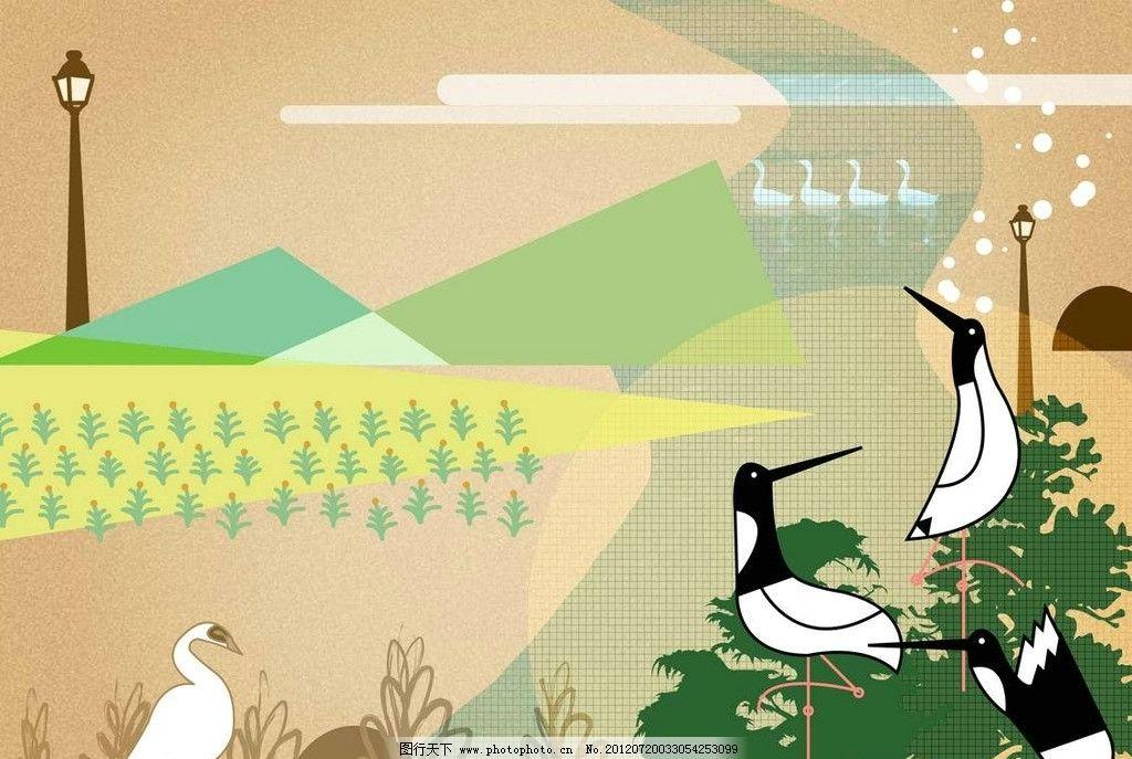 卡通小鸟仙鹤背景图片