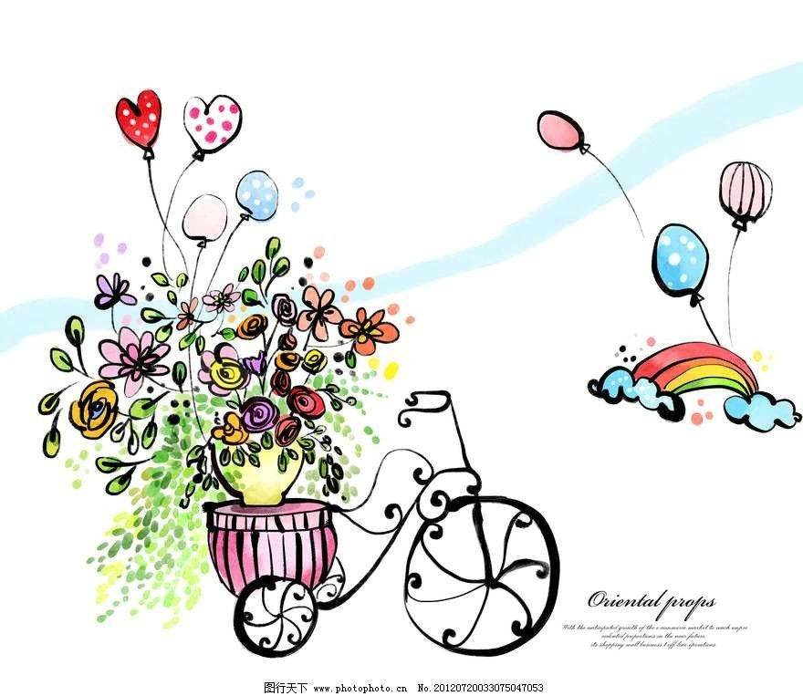 鲜花自行车背景 鲜花 花朵 花丛 盆栽 绿植 自行车 气球 彩虹 白云