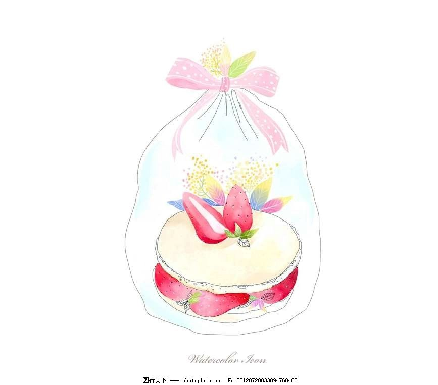 草莓蛋糕背景 草莓 蛋糕 糕点 点心 水果 果实 甜点 甜品 包装 塑料袋