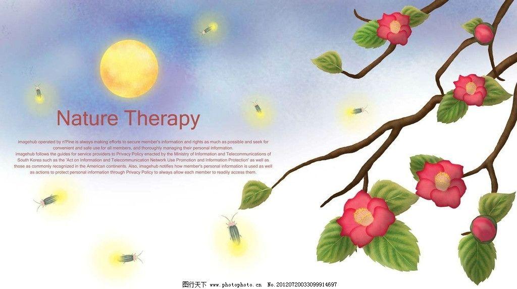 腊梅鲜花卡通设计 腊梅 梅花 树枝 树干 鲜花 花朵 绿叶 叶子 月亮
