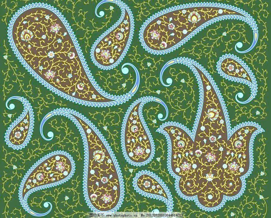 深绿色欧式花纹墙壁纸