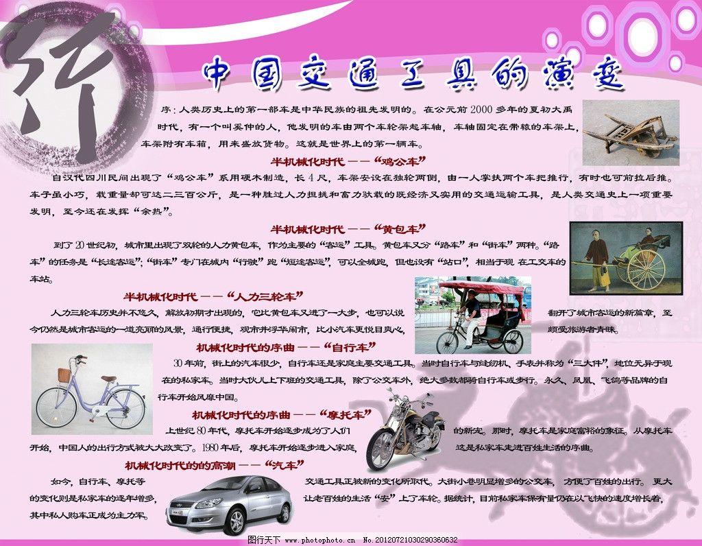 科普展板 交通工具 交通 交通宣传 汽车 摩托车 自行车 三轮车 人力