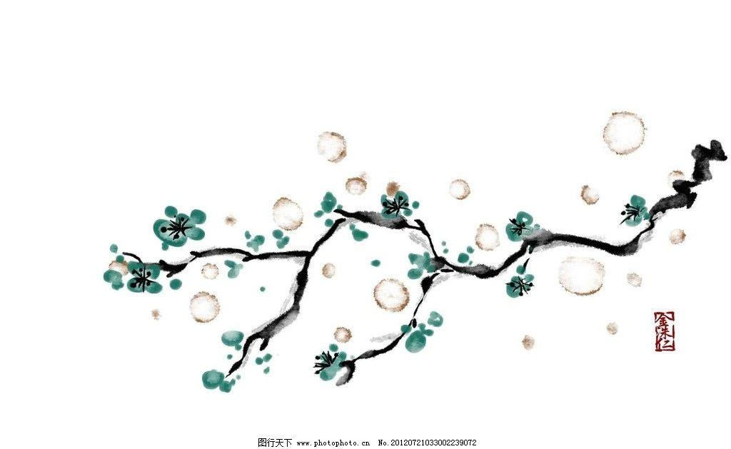 腊梅梅花国画 鲜花 花朵 树枝 树干 腊梅 梅花 水墨 中国传统 国画