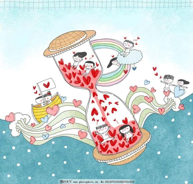 梦幻卡通情侣 漂流瓶 沙漏 小船 船只 大海 海洋 海水 海浪 情人 爱人