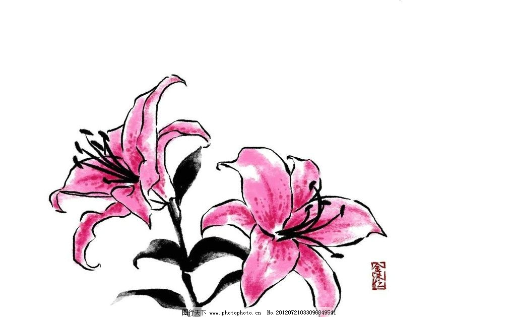 鲜花水墨画 鲜花 花朵 花心 花蕊 绿叶 叶子 水墨 中国传统 中国风 传