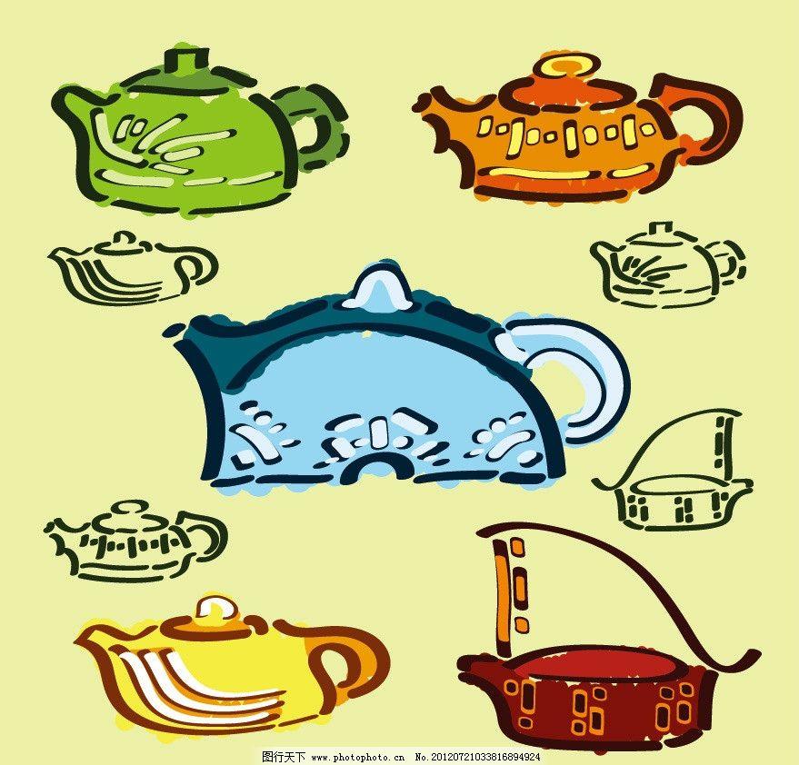 手绘线条茶具花纹 手绘 线条 茶具 花纹 时尚 可爱 矢量 矢量其他