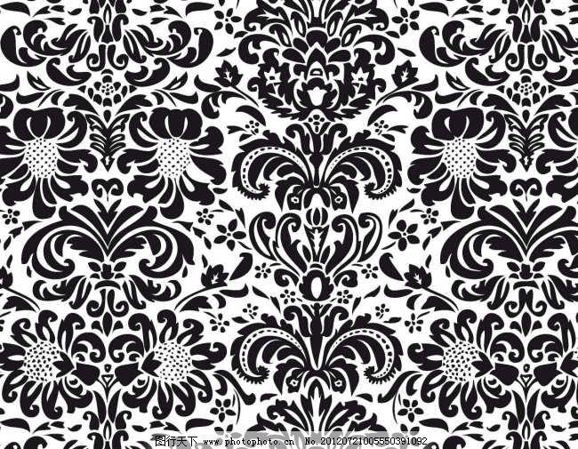 欧式 精美 花纹 花边 菊花 花藤 图案 底纹 背景 植物 二方连续 矢量