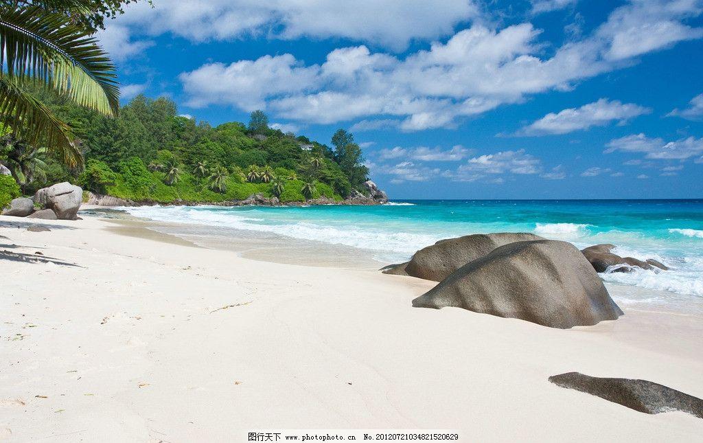 海滩 椰树 热带海岛 海岛 热带 天堂 沙滩 大海 海 蓝天 白云 旅游