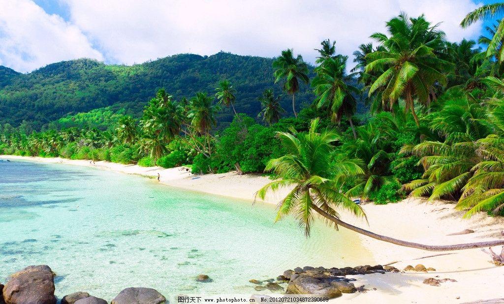 海滩 椰树 热带海岛 天堂 沙滩 大海 蓝天 白云 旅游 度假