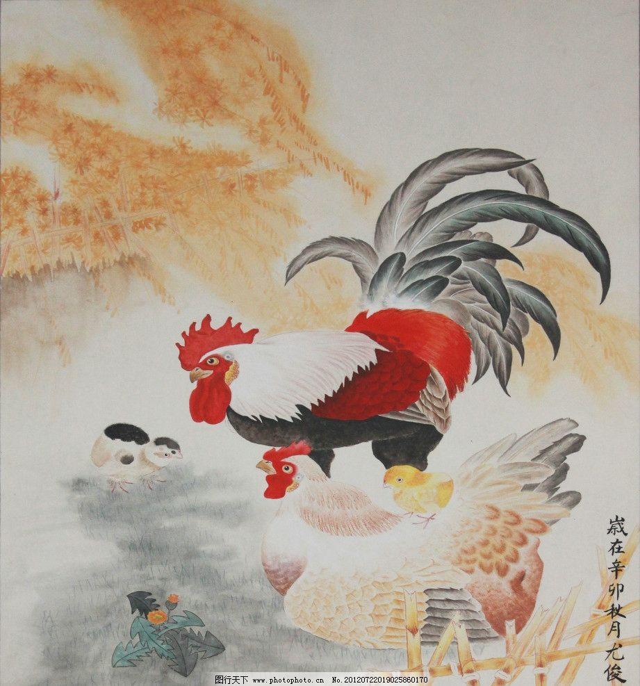 国画工笔画公鸡母鸡小鸡图沙发背景墙