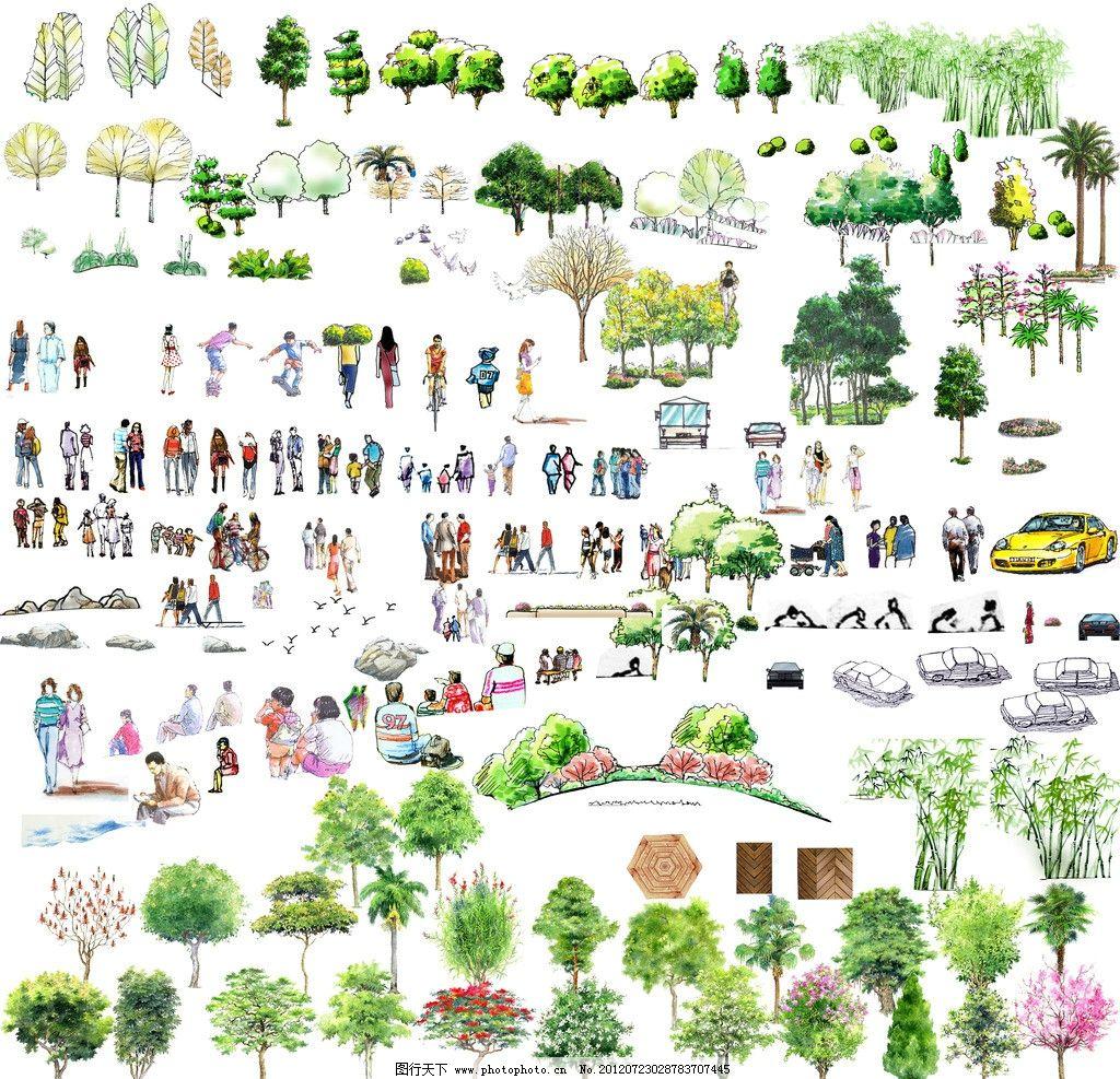 手绘植物人物 手绘 园林 植物立面 人物效果 园林设计 环境设计 源