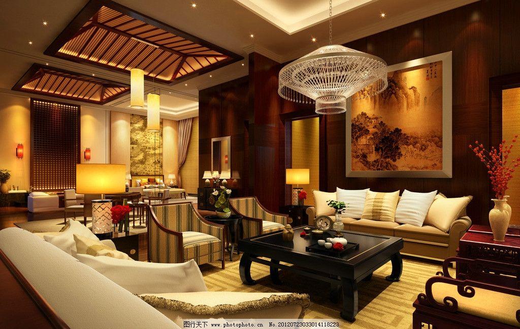 中式客厅 华丽 金碧辉煌 百宝阁 后现代 中欧结合 楼盘设计 源文件