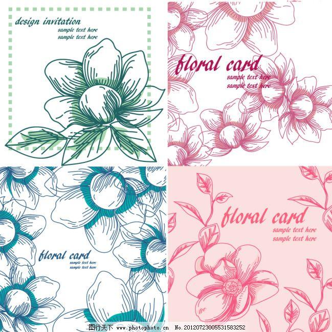 底纹 复古 花朵 花纹 矢量素材 线稿 线条 复古 线稿 线条 花纹 底纹