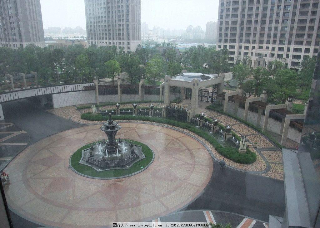 品尊国际入口广场景观 上海 住宅小区 品尊国际 入口广场 喷泉 铺地