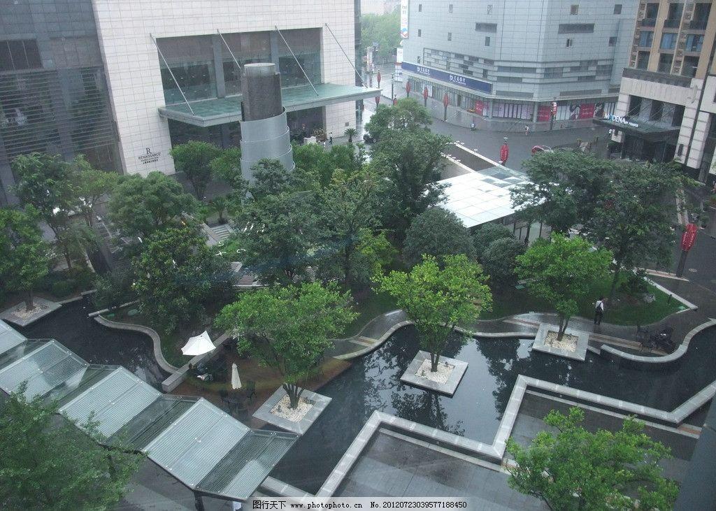 上海 品尊国际 写字楼 星级酒店 庭院 环境 景观 水系 廊架 铺地 鸟瞰