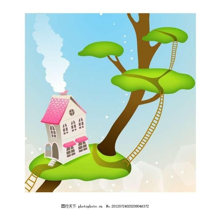 绿树 大树 树木 房屋 房子 梯子 天梯 设计 线条 花纹 条纹 花样 卡通图片