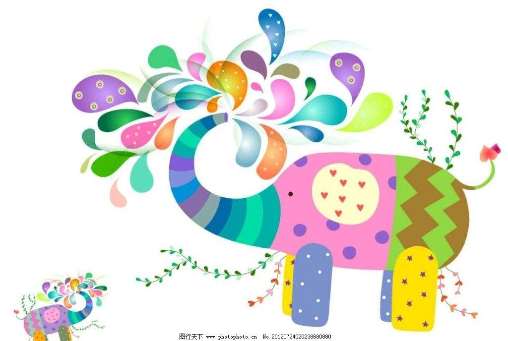 卡通大象背景图片
