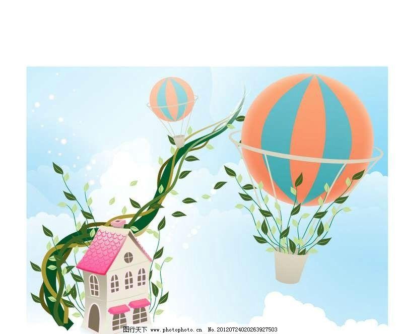 绿植 植物 热气球 绿叶 叶子 房屋 花藤 建筑 楼房 别墅 设计 线条图片
