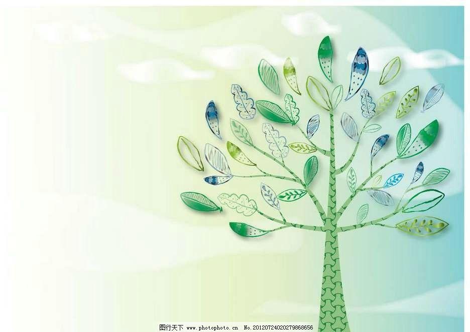 大树 树干 树叶 树枝 抽象 设计 线条 花纹 条纹 花样 卡通 漫画 底纹
