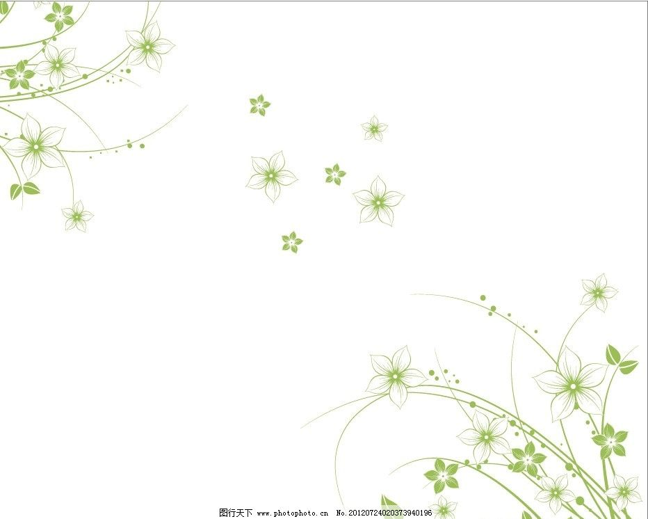 草绿色 时尚花纹 花纹花边 小花 线条 叶子 手绘花纹 花纹底纹 对角