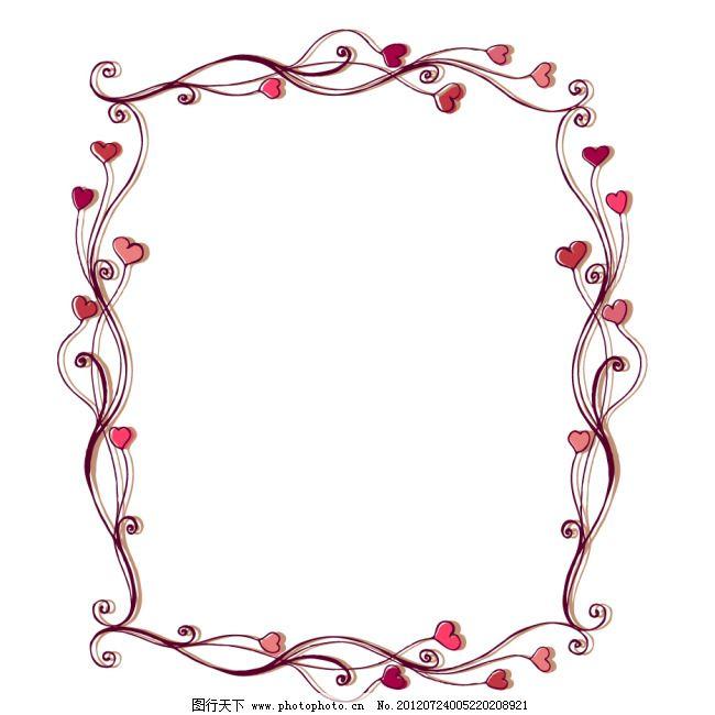红心边框免费下载 边框 红心 花边 矢量素材 心 心型 心型 心 边框