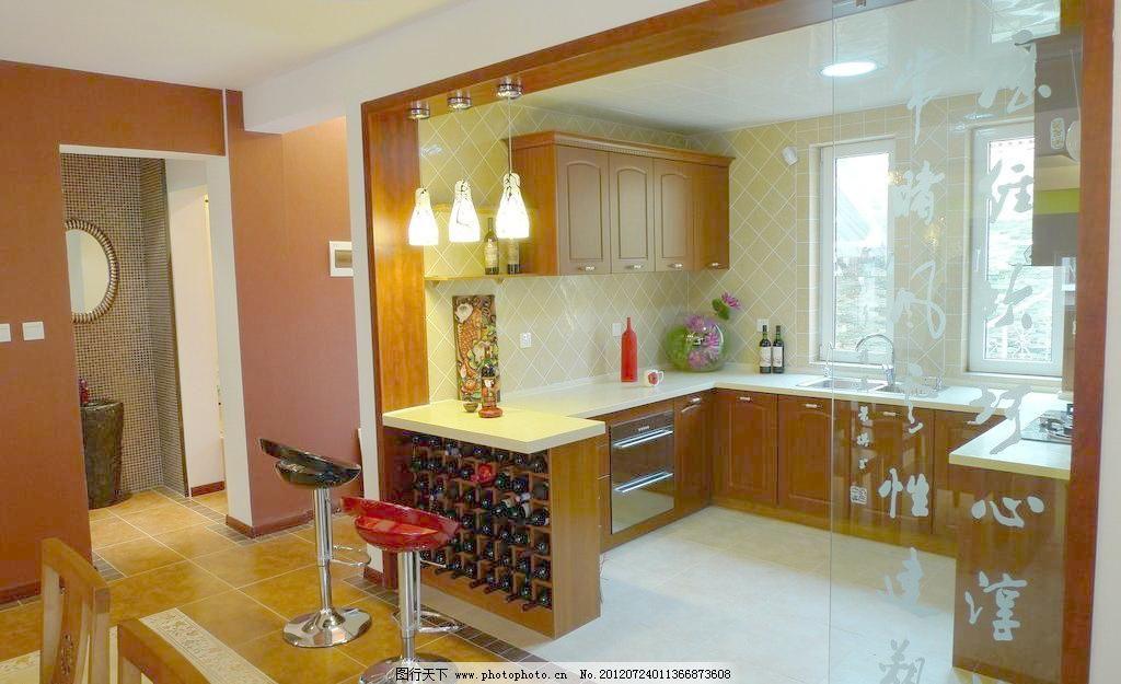 开放式厨房 室内装修 中式装修 中式厨房 壁橱 吊灯 吧台 旋转椅 室内