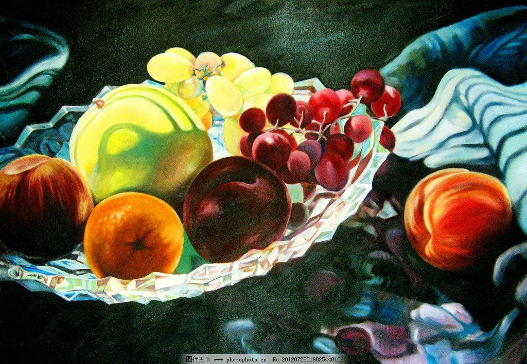 水果静物 美术 油画 风景画 静物画 水果 苹果 葡萄 提子 果盆 台布
