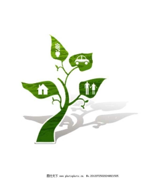 绿植风车背景 植物 房屋 汽车 人类 绿树 大树 树叶 绿叶 卡通